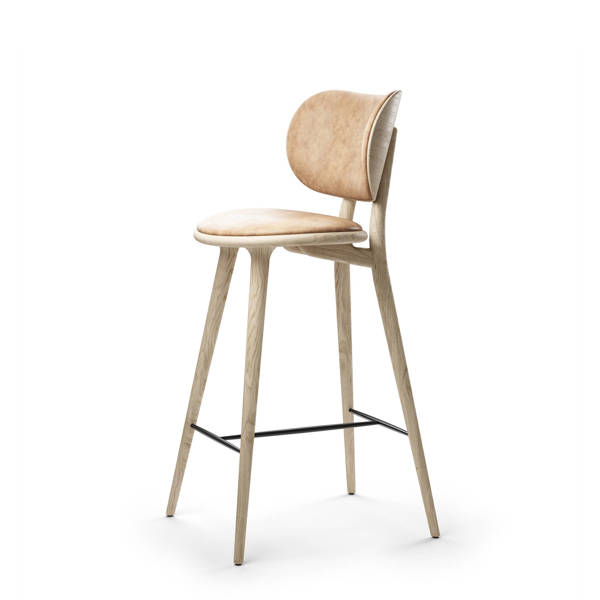High Stool Backrest - Counter - Matt Lacquered Oak - Natural Tanned Leather Seat